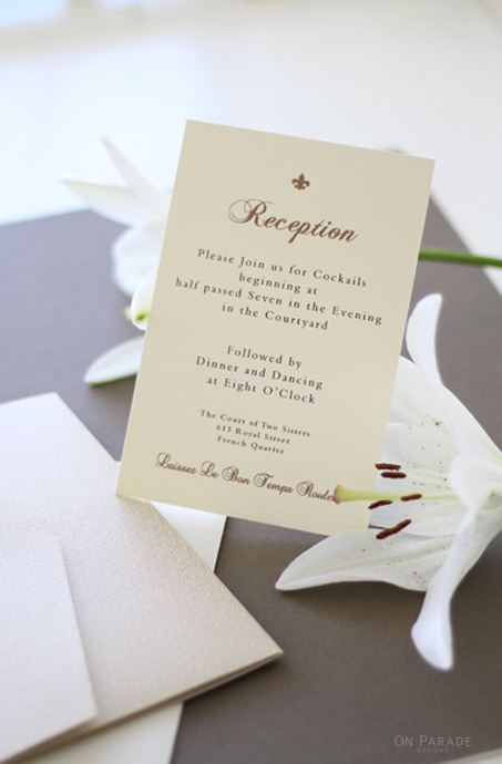 The Elizabeth Suite Reception Card