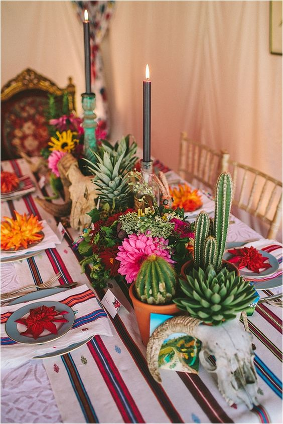 Cactus and Floral Centerpiece
