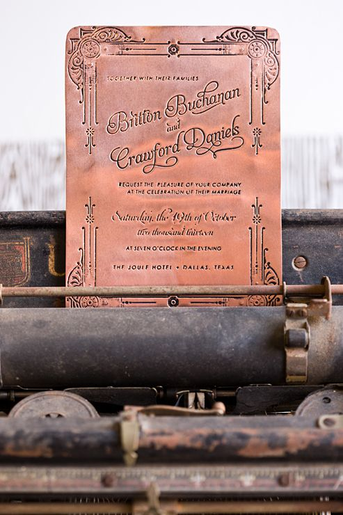 copper plate wedding invitation