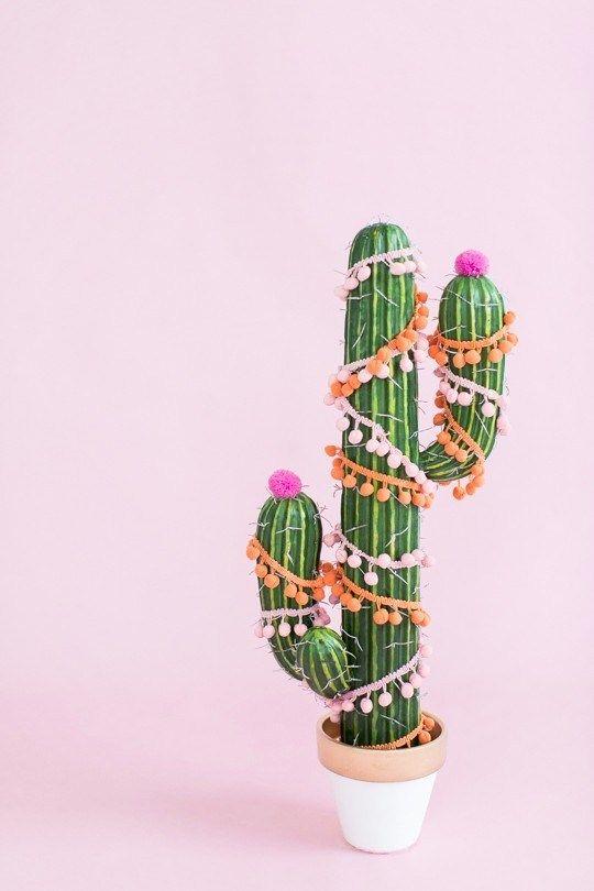 Pom pom wrapped cactus