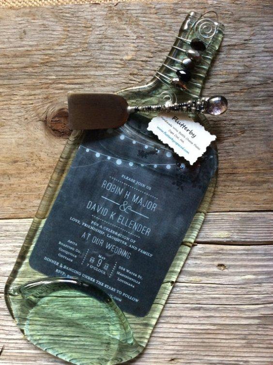 wedding invitation wine bottle