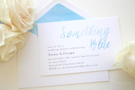 something blue bridal shower invitation