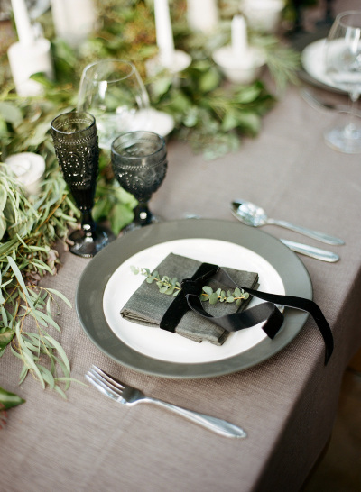 gray and black table setting