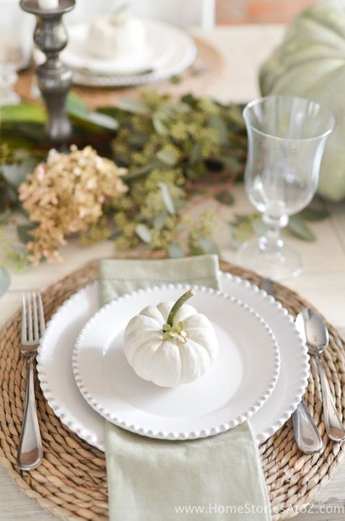 white pumpkin table setting